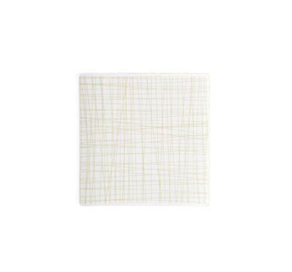 Mesh Line Cream Flat Square Plate L. 17 cm