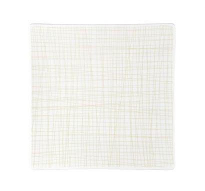 Mesh Line Cream Flat Square Plate L. 27 cm