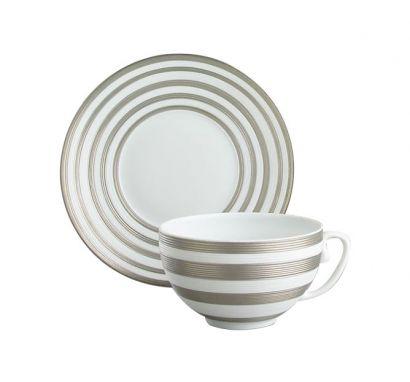 Hémisphère Platinum Stripe Tea Cup with Saucer Ø 16,5 cm
