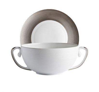 Hémisphère Platinum Soup Cup with Saucer Ø 19 cm
