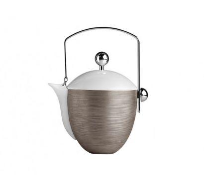 Hémisphère Platinum Teapot with Handle H. 21 cm