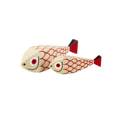 Wooden Dolls Mother Fish & Child Statuette