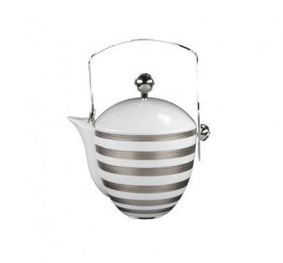 Hémisphère Platinum Stripe Teapot with Handle H. 21 cm