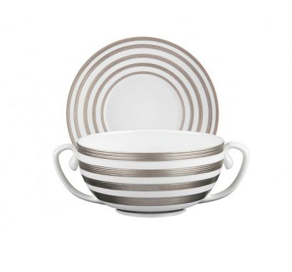 Hémisphère Platinum Stripe Soup Cup with Saucer Ø 19 cm