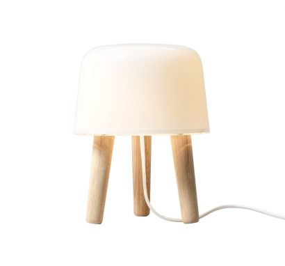 Milk Table Lamp - Natural Ash Legs White Cable