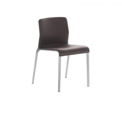 Bend - Sedia con rivestimento in pelle - grigio