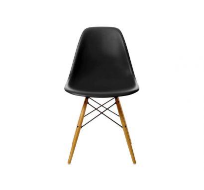 Eames Plastic Side Chair DSW - Sedia Acero Giallastro / Nero