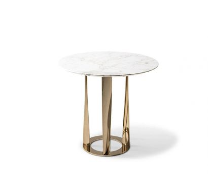 476 Boboli Side Table - Ø 60 Carrara/ Gold