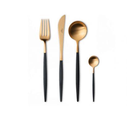 Goa Black Matte Gold Set 24 Cutlery + Wood Chest