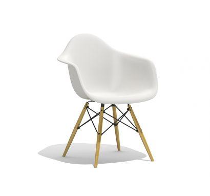 Eames Plastic Armchair DAW - Poltroncina Gambe Acero Giallastro