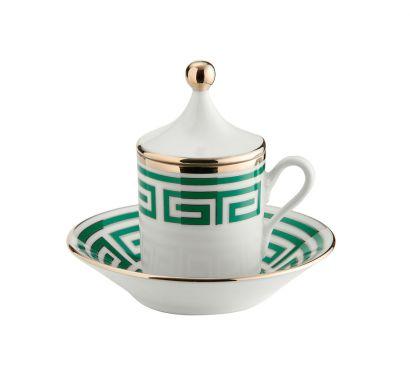 Labirinto Smeraldo Coffee Cup with Lid and Saucer Set of 2 pcs 80 CC