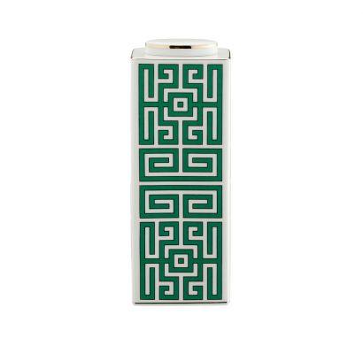 Labirinto Smeraldo Low Rectangular Vase with Lid H. 22