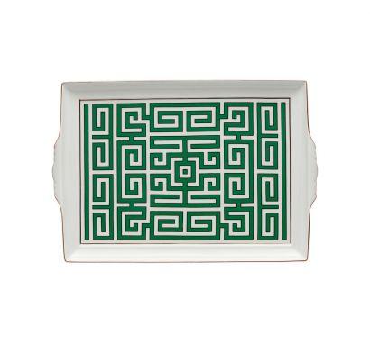 Labirinto Smeraldo Tray with Handles L. 31,5 cm - P. 22,5 cm