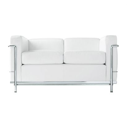 LC2 2 Seater Sofa LCX White / Chromed Base