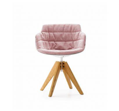Flow Slim - VN 4-Legged Natural Oak Base/White Shell - Fabric Monaco 07
