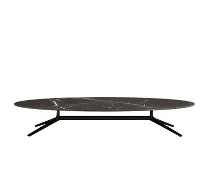 Mondrian Tavolino Ovale - Brown Nickel Opaco/Stardust Levigato