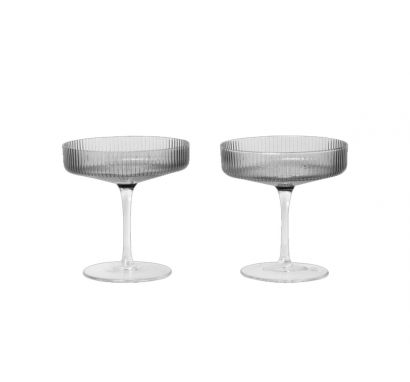 Ripple Champagne Saucers set of 2 - Smoked