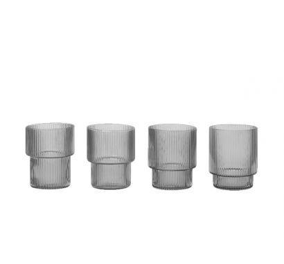 Ripple Glass Verre Set de 4 pcs - Gris