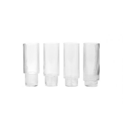 Ripple Long Drink Glasses Set of 4 - Clear