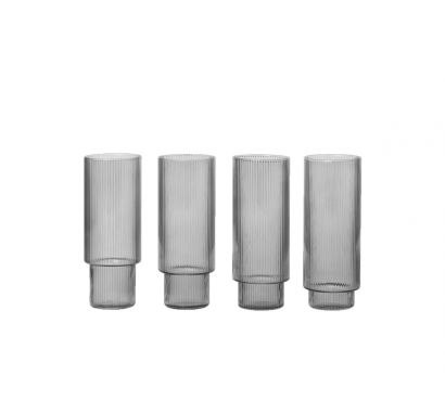 Ripple Long Drink Glasses Set of 4 - Smoked