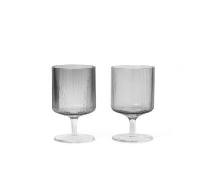 Ripple Verres Vin - Set de 2 pcs - Gris