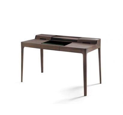 Porada Saffo Writing Desk - Walnut Canaletta/Black Leather Desk Pad