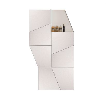 Slide Mirror Composition with Shelf