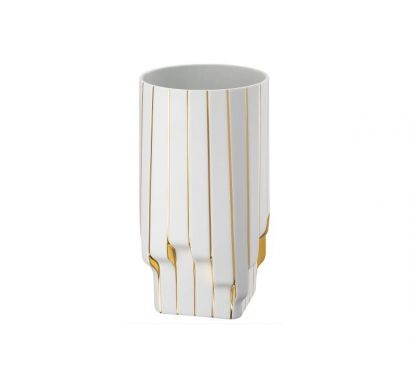 Strip Vase White - Gold 30 cm
