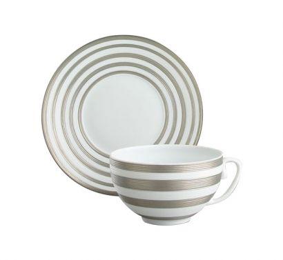 Hémisphère Platinum Stripe Tazza Tè con Piattino Ø 16,5 cm