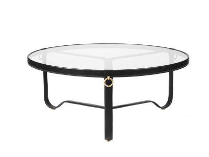 Adnet Coffee Table - Ø 100 Black leather