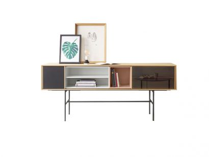 Aura Sideboard in Oak, Pink and White