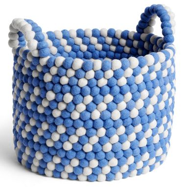 Bead Basket / with Handle - Blue Dash - Ø. 40 cm - H. 32 cm