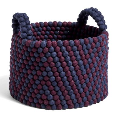 Bead Basket / with Handle - Burgundy Chevron - Ø. 40 cm - H. 30 cm
