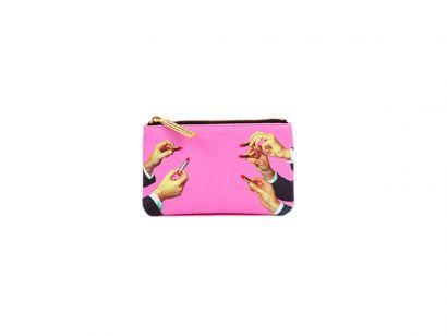 Lipsticks Pink Coin Bag - L. 15,5 cm - H. 9,5 cm