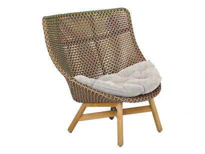 Mbrace Wing Armchair - 151 Chestnut / Seat Cushion 462 Cool sage / Decorative Cushion 50x50 cm 663 Twist Terracotta