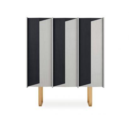 Diedro Sideboard - Taba Frisè white - Tanganika black / lacquered brass metal