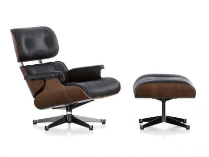 Eames Lounge Chair & Ottoman - Black Pigmented Walnut/Leather Premium F Black 66