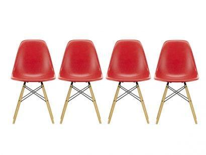 Eames Fiberglass Side Chair DSW Set 4