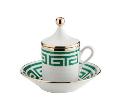 Labirinto Smeraldo Tasse à Café avec Couvercle et Soucoupe Set de 2 pcs