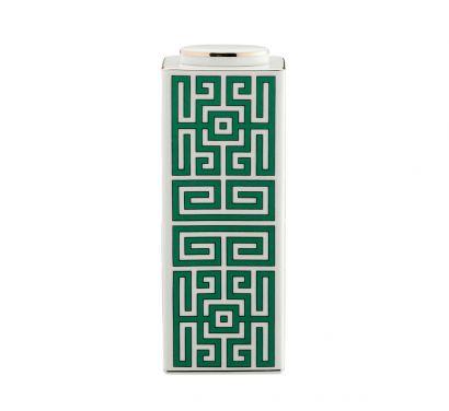 Labirinto Smeraldo Vase Basse Rectangulaire avec Couvercle H. 22