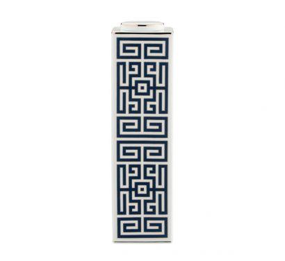 Labirinto Zaffiro Vase Haut Rectangulaire avec Couvercle H. 30