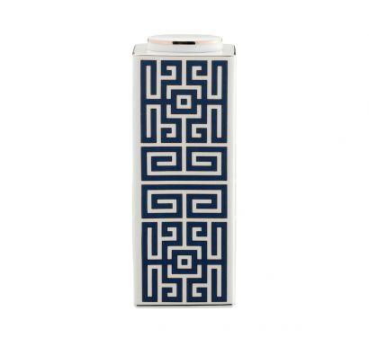 Labirinto Zaffiro Vase Basse Rectangulaire avec Couvercle H. 22