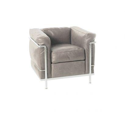 LC2 Armchair - Leather Scozia Grey 13x330