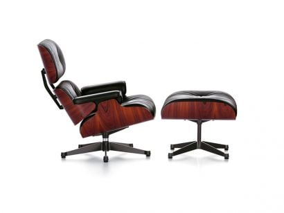 Eames Lounge Chair & Ottoman - Santos Palisander/Leather Premium Black 66