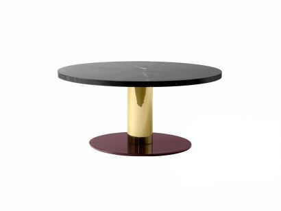 Mezcla Coffee Table Ø80 - Polished Nero Marquina with Brass & Burgundy