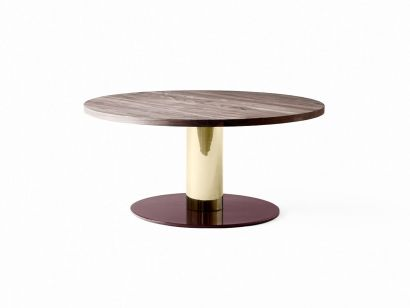 Mezcla Coffee Table Ø80 - Walnut With Brass & Burgundy