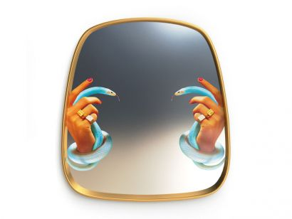 Seletti Framed Wall Mirror - Hands with Snakes/54x59