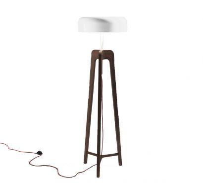 Pileo Floor Lamp - Canaletta Walnut / Shiny White
