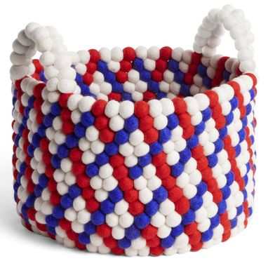 Bead Basket / with Handle - Red Basket Weave - Ø. 40 cm - H. 27 cm