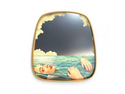 Framed Wall Mirror - Sea Girl / 54x59